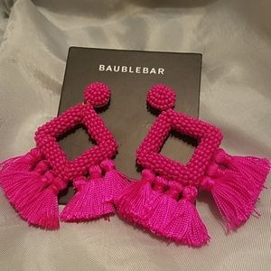 Baublebar fushia beaded fringe earrings new